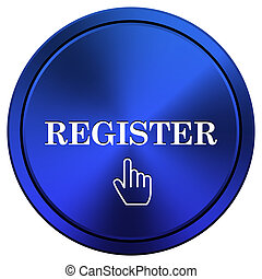 Register icon - Metallic icon with white design on blue ...