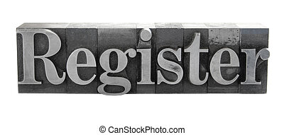 register in old metal type