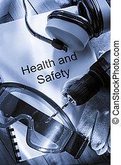register, med, goggles, drill, och, hörlurar