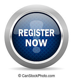 register now blue circle glossy web icon on white background, round button for internet and mobile app