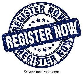 register now blue grunge stamp