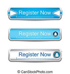 Register now buttons - Shiny blue register now button...
