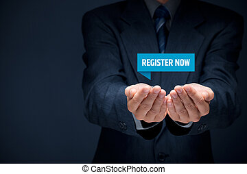Register now concept. Businessman hold virtual label with ...