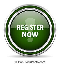 register now green glossy web icon