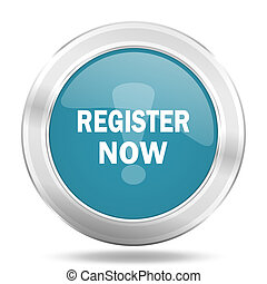 register now icon, blue round metallic glossy button, web and mobile app design illustration