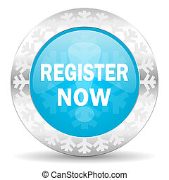 register now icon, christmas button