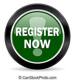 register now icon - green glossy web button