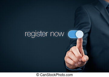 Register now - Businessman switch-on button register now,...