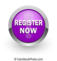 register now pink glossy web icon