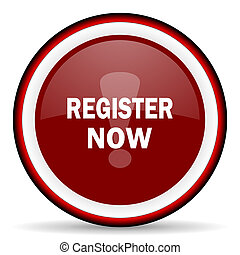 register now round glossy icon, modern design web element
