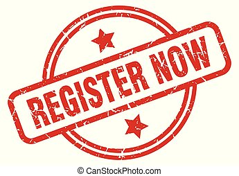 register now round grunge isolated stamp