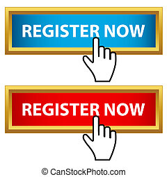 Register now set on a white background