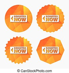 Register now sign icon. Join button symbol. Triangular low poly buttons with flat icon. Vector