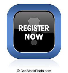register now square glossy icon