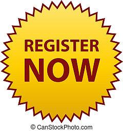 register now sticker illustration. register now