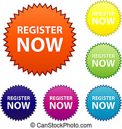 register now sticker illustration.  register now