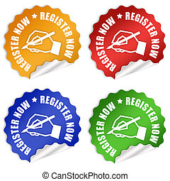 Register now stickers set