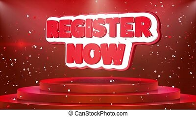 Register Now Text Animation Stage Podium Confetti Loop...
