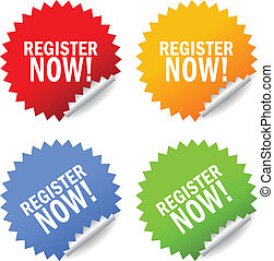 Register now sticker, vector illustration