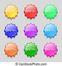 Register sign icon. Membership symbol. Website navigation. Symbols on nine wavy colourful buttons. illustration