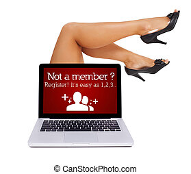 Register sign in laptop with sexy feet, isolated on white