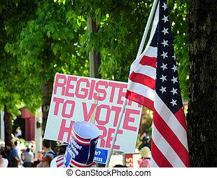 Register to vote sign. - Register to vote sign displayed...