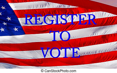 Register to Vote text with US flag on the background