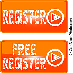 orange register web button. sign up open account free join subscribe