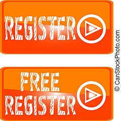 register web button orange sign