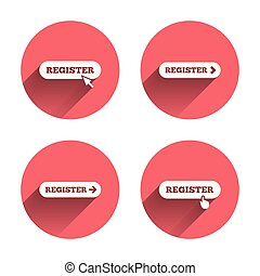 Register with hand pointer icon. Mouse cursor.