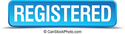 registered blue 3d realistic square isolated button