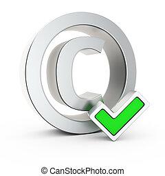 Metallic copyright symbol with small green tick mark