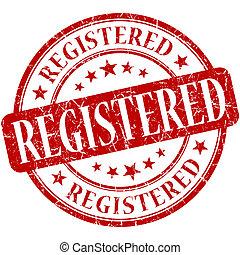Registered grunge red round stamp