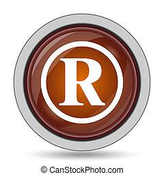 Registered mark icon, orange website button on white...