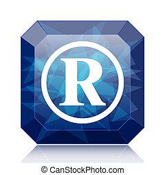 Registered mark icon, blue website button on white...