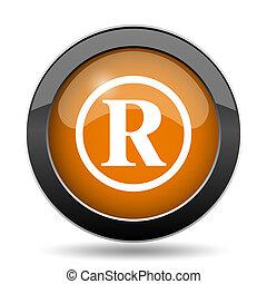 Registered mark icon. Registered mark website button on...