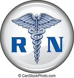 Illustration of a blue registered nurse medical symbol on a white button.