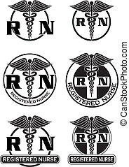 Illustration of six different registered nurse medical symbol designs in graphic style. Great for logos or t-shirts.
