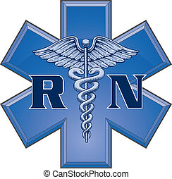 Registered Nurse Star Symbol - Illustration of a blue...