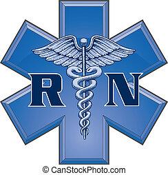 Illustration of a blue registered nurse medical design in a star of life medical symbol.