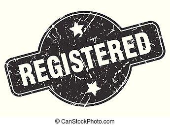 registered round grunge isolated stamp