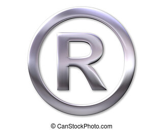 Registered trade mark symbol - silver bevel and white...