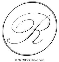 registered trade mark symbol, bevel silver