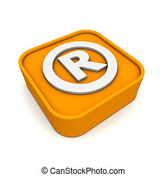 orange RSS-Registered Trademark symbol rendered in 3D isolated on white ground - lying