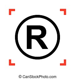 Registered Trademark sign. Black icon in focus corners on...