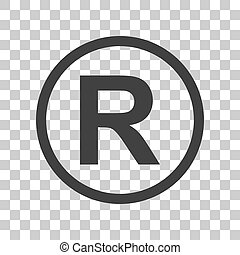Registered Trademark sign. Dark gray icon on transparent...