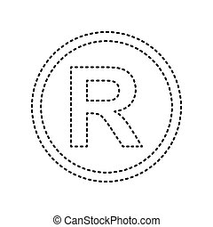 Registered Trademark sign. Vector. Black dashed icon on...