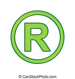 Registered Trademark sign. Vector. Lemon scribble icon on...