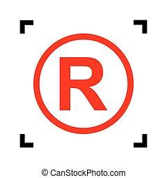 Registered Trademark sign. Vector. Red icon inside black...