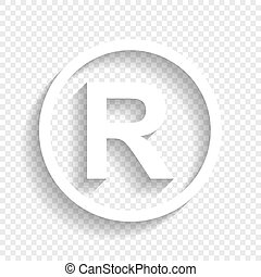 Registered Trademark sign. Vector. White icon with soft...